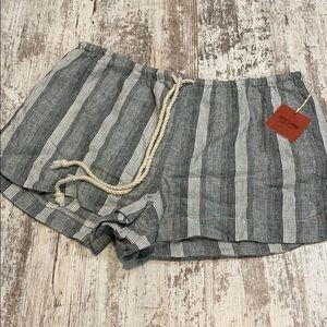 NWT Mossimo black striped linen shorts